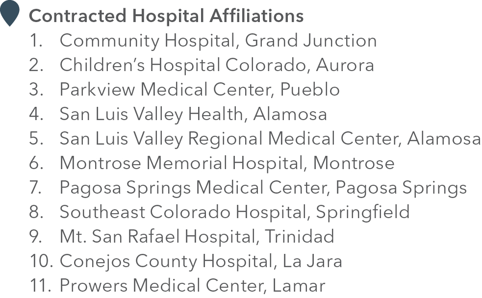 Contracted Hospital Affiliations Map Legend